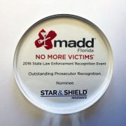 Daugustinis was recognized for her work with DUI cases at MADD's Statewide Law Enforcement Recognition dinner Friday.