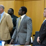 Benjamin Smiley, center, stands with his attorneys after Judge Harb read his death verdict in court Friday. Jurors unanimously recommended he be sentenced to death for the 2013 murder of Clifford Drake.