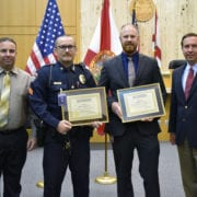 Winter Haven Police Department Detectives Garrett Boyd and Nicholas Gregory were honored for their work on the Perry Lee Chance case. Chance robbed and beat an elderly woman and fled the scene in her vehicle. The victim later died. He was found guilty of burglary with assault, robbery and kidnapping and was sentenced to life.