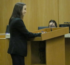 Assistant State Attorney Monica Smith recently questions a witness during court.